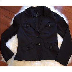 H&M Women's Black Fitted Blazer Size 8 Button